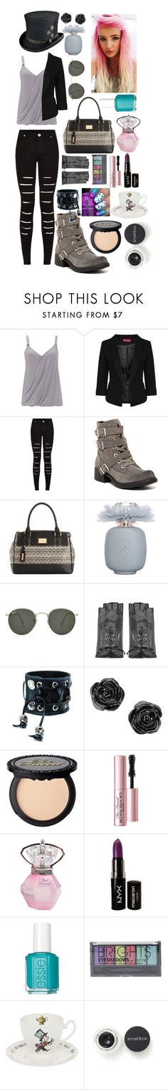 """""""Mad hatter"""" by teardropgirl ❤ liked on Polyvore featuring Wallis, Boohoo, Circus By Sam Edelman, Tignanello, Les Parfums De Rosine, Ray-Ban, Maison Fabre, Funk Plus, Too Faced Cosmetics and NYX"""