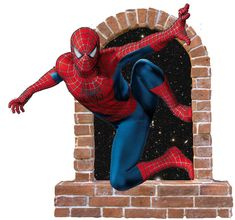 Spiderman brick window... Spiderman Wall Decals, Window Wall, Wall Stickers, Brick, Dinosaur Stuffed Animal, Windows, Toys, Animals, Walls