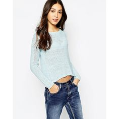 Vero Moda Knit Sweater (€22) ❤ liked on Polyvore featuring tops, sweaters, blue, blue top, blue crewneck sweater, knit crew neck sweater, crew sweater and crew neck sweaters