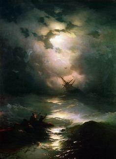 Ivan Konstantinovich Aivazovsky: Storm on the North sea 1865 / Буря на Северном море 1865 269х195. Иван Константинович Айвазовский