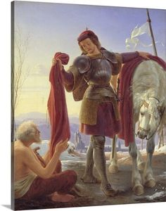 """Alfred Rethel: """"Der heilige Martin"""", oil on canvas, Dimensions: × cm × in), Current location: Kunsthalle Hamburg. Martin Von Tours, Oil On Canvas, Canvas Prints, Germany Castles, Saint Martin, Kirchen, Gloss Matte, Custom Posters, Beautiful Horses"""