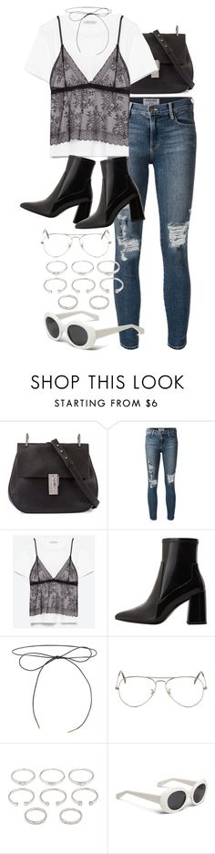 """Untitled #9637"" by nikka-phillips ❤ liked on Polyvore featuring Chloé, Frame Denim, MANGO, Ray-Ban and Forever 21"