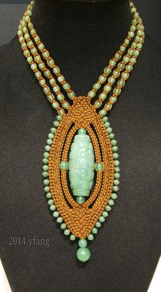 Brown macrame necklace with green aventurine mix green agate.
