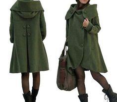 dark green cloak wool coat Hooded Cape women Winter wool by MaLieb