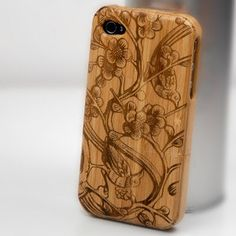 Wooden iPhone 4 case, iPhone 4s case, iPhone case, case for iPhone 4 - Flowers and Birds. $38.99, via Etsy.