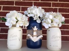 Anchor Hand Painted Mason Jar Set