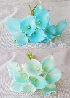 Silk Flower Wedding Bouquet Medium Tiffany Blue or by Wedideas