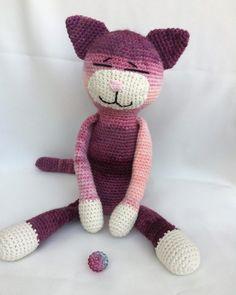 Cat Pattern, Chrochet, Cute Crochet, Single Crochet, Dinosaur Stuffed Animal, Teddy Bear, Toys, Animals, Origami