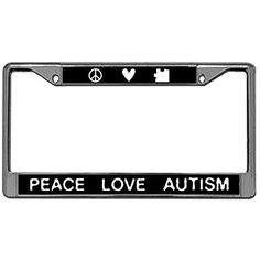 Peace Love Autism License Plate Frame, Car License Tag Holder, Stainless Steel