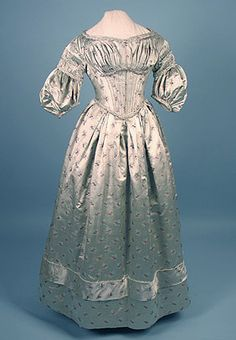 Silk Brocade Evening Dress, c. 1838