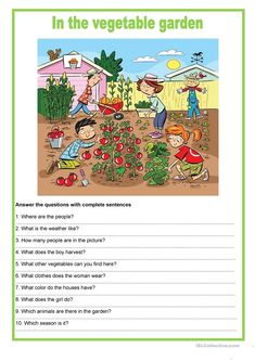 Picture description - In the vegetable garden worksheet - Free ESL printable worksheets made by teachers Creative Writing Topics, English Creative Writing, English Writing Skills, English Vocabulary, Teaching English, Learn English, English Lessons For Kids, English Worksheets For Kids, English Activities