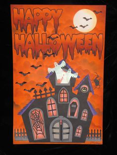 Happy Halloween Wall Poster. Paper, ink, vellum