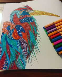 Just finished this one. What do you think? Not sure if am happy with the way it turned out.. I absolutely love my animal kingdom book. Need to get the set of them. :)  #animalkingdom #animals #bird #likesforlikes #lovecolouring #adultcolouring #coloringbook #colouring #stabilo #pens #fineliner #followme #milliemarotta x