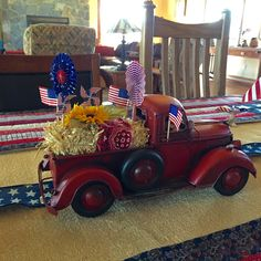 Fourth Of July Decor, 4th Of July Celebration, 4th Of July Party, July 4th, Patriotic Crafts, July Crafts, Patriotic Table Decorations, Truck Crafts, Red Truck Decor