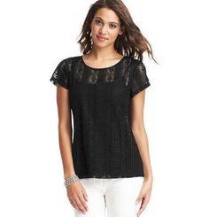 Ann Taylor Loft Black Sheer Pleated Stunning Jewel Neck S/s Lace T