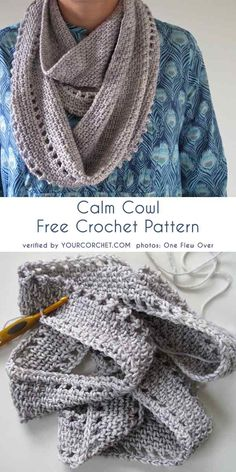 Most up-to-date Photos Crochet cowl free Thoughts Calm Cowl Free Crochet Pattern Crochet Cowl Free Pattern, Crochet Poncho, Crochet Scarves, Crochet Clothes, Crochet Stitches, Knitting Patterns, Knitting Tutorials, Crochet Granny, Free Knitting