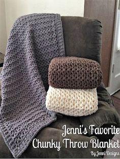 Free Crochet Pattern: Jenni's Favorite Chunky Throw Blanket by maryann