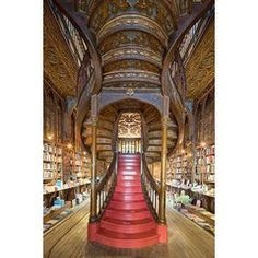 Reinhard Görner - Portals with Bookshelves, Biblioteca Joanina, Portugal For Sale at Beautiful Stairs, Beautiful Library, Dream Library, Grand Library, Library Books, Beautiful Architecture, Beautiful Buildings, Architecture Design, Home Libraries