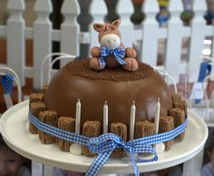 Pony Smash (Pinata) Cake, which consists of a hollow chocolate dome filled with treats, snack size flakes glued with chocolate all around the cake and a fondant Pony sitting on top.