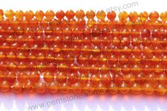 Carnelian Smooth Round (Quality AA) / (A pack of 3 strands) / 5.5 to 6.5 mm / 17 to 19 Grms / 36 cm / CAR-010 by GemstoneWholesaler on Etsy