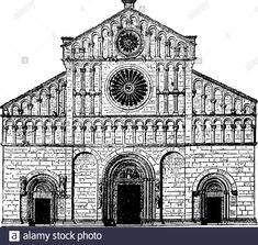 Romanesque architecture – Google Søk Romanesque Art, Romanesque Architecture, Art And Architecture, Medieval Fantasy, Designs To Draw, Big Ben, Cathedral, Architectural Drawings, Louvre