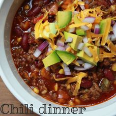 21 day fix approved Chili dinner. Delicious, hearty, & satisfying! Www.Allisoncale.com