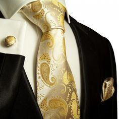 Paul Malone Silk Tie Set with Gold Paisleys (886CH)