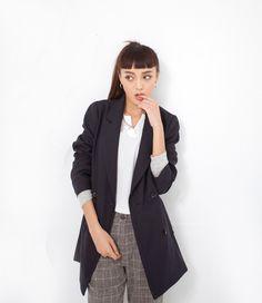 Cle 2 Chic-春季學院時尚薄長版雙排扣大衣-(深藍) - Yahoo!奇摩購物中心