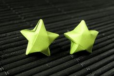 Star Earrings. Lime Green Star Earrings. Origami Star Earrings. Paper Star Earrings. Silver Post Earrings. Stud Earrings. Oragami Jewelry. by StumblingOnSainthood from Stumbling On Sainthood. Find it now at http://ift.tt/25p8GAN!