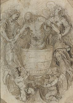 Palma Giovane (Jacopo Negretti), c.1548-1628, Italian, Christ Standing in a Chalice Supported by Angels.  Pen, brown ink with traces of black chalk on paper, laid down (with corners cut), 26.9 x 19.3 cm.  National Galleries of Scotland, Edinburgh.  Mannerism.