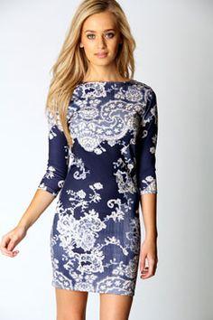 Darcey Printed Sleeve Bodycon Dress at boohoo.com I need this dress!!!!