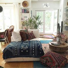 *a boho living room- a variety of color and patterns