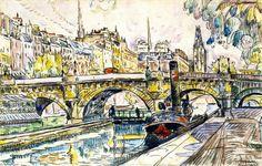 "huariqueje: "" Tugboat at the Pont Neuf, Paris - Paul Signac , 1923 French, Paris…"