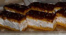 Mennyei Tejszínes eperjoghurtos szelet recept! Nagyon finom, könnyű krémes szeletek.