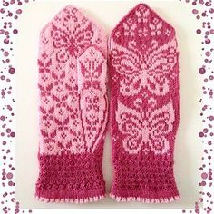 Ravelry: Papilio Mittens 2 pattern by JennyPenny Crochet Mittens Free Pattern, Fair Isle Knitting Patterns, Knitting Charts, Knitting Socks, Hand Knitting, Knit Crochet, Crochet Patterns, Fingerless Mittens, Knitted Gloves
