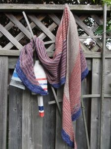 """Color Affection Shawl. Knit up with 3 differnet colour and a super soft and light yarn """"madelinetosh tosh merino light"""" simple pattern too"""