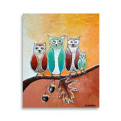 Folk Art Acrylic Painting  Kids Art Owl Decor   by hjmArtGallery