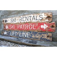 Rustic Distressed Ski Patrol, Lift Line, Ski Rentals Directional Wood... ($255) ❤ liked on Polyvore featuring home, home decor, wall art, wood signs, wooden home decor, wood wall art, wooden signs and ski sign