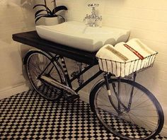 23 Creative Ways To Repurpose & Reuse Old Stuff Dec 2014 Bicycle Sink, Reuse Recycle, Upcycle, Pot A Crayon, Unique Gardens, Old Doors, Repurposed Furniture, Vanity Bench, Decoration