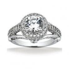 14k White Gold Diamond Accented Engagement Ring Containing 1.12 Carats Of Diamonds In Hi Color And Si1-si2 Clarity