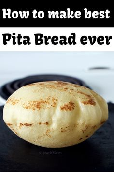 The only 6 simple steps you need to know to make Pita Bread like a BOSS! This easy homemade pita bread recipe made on the stove top with soft and chewy texture puffed like a balloon creating a pocket that is great for fillings when stuffed with veggies a Best Bread Recipe, Easy Bread Recipes, Cooking Recipes, Naan Recipe, Quick Bread, Pitta Bread Recipe, Flat Bread, Vegan Pita Bread Recipe, Pita Recipes