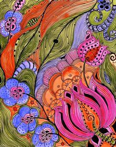 Fine Art Print  LOTUS orange pink green ink and by devikasart, $20.00