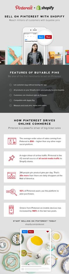 Social selling made easy with Shopify and Buyable Pins with Pinterest. Sell more, and boost sales by selling directly on Pinterest.