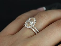 Chantelle 14kt Rose Gold Oval Peach Champagne by RosadosBox, $4395.00