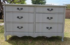 FRENCH PROVINCIAL/ SHABBY CHIC DRESSER 6 DRAWERS COTTAGE GREY