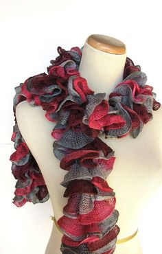 Hand Knit Ruffled Scarf  Pink Burgundy Gray by ArlenesBoutique, $33.00