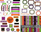 Halloween Kit Commercial Use Digital Scrapbook Kit Clipart Invitations Paper Goods Witches Brew
