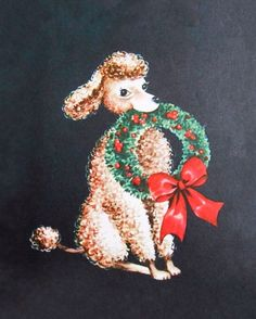 Pretty poodle at Christmas.