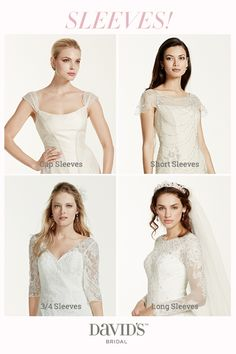 Sleeves, please! Add chic coverage to your wedding dress with sleeves from cap to full length.
