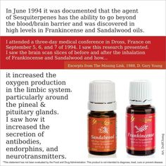 Sandlewood and Frankincense for increasing antibodies, endorphins, and neurotransmitters.